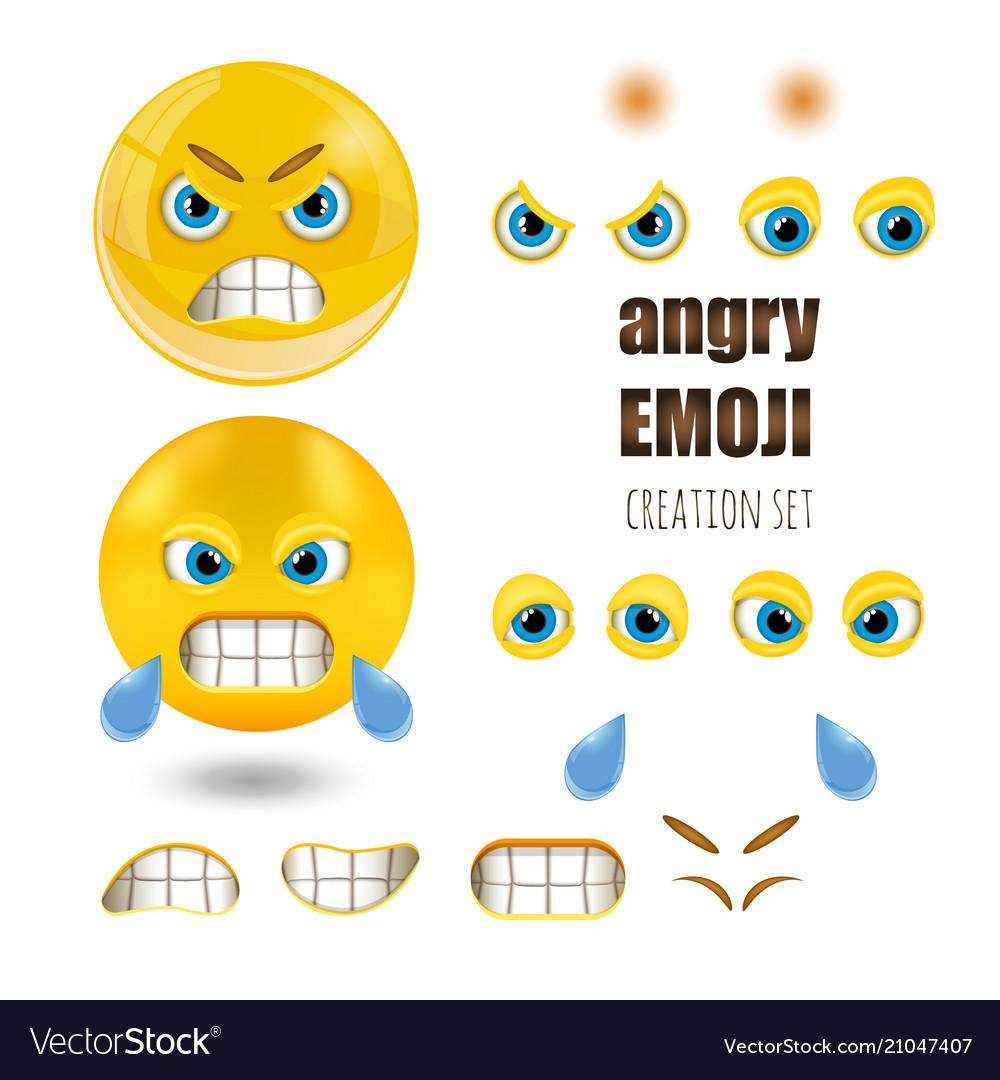 Yellow angry smiley emoticons set emoji vector image