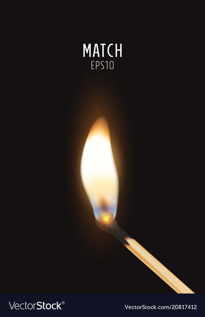 3d realistic burning match stick icon