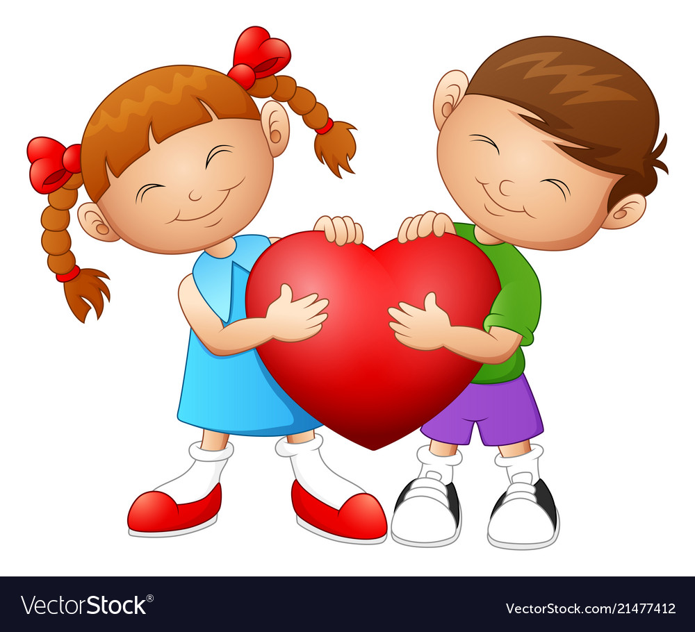 Cartoon couple in love holding heart