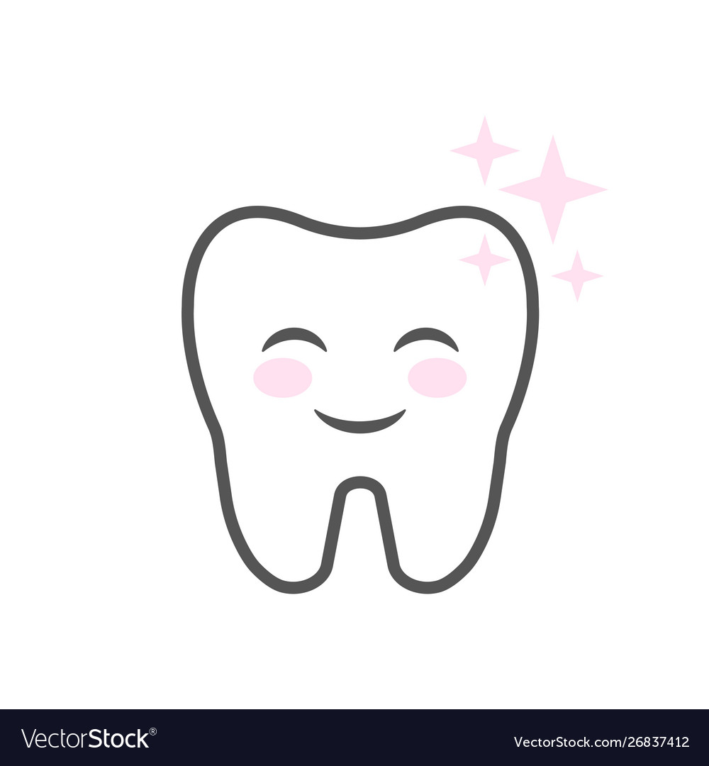 Cute smiling cartoon character tooth clean teeth
