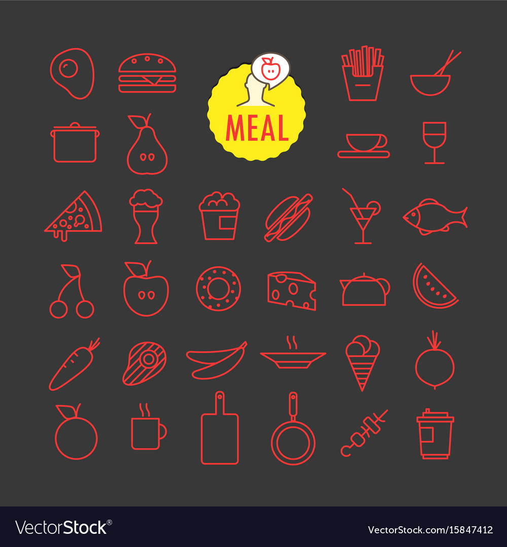 Different meal icons collection web and mobile