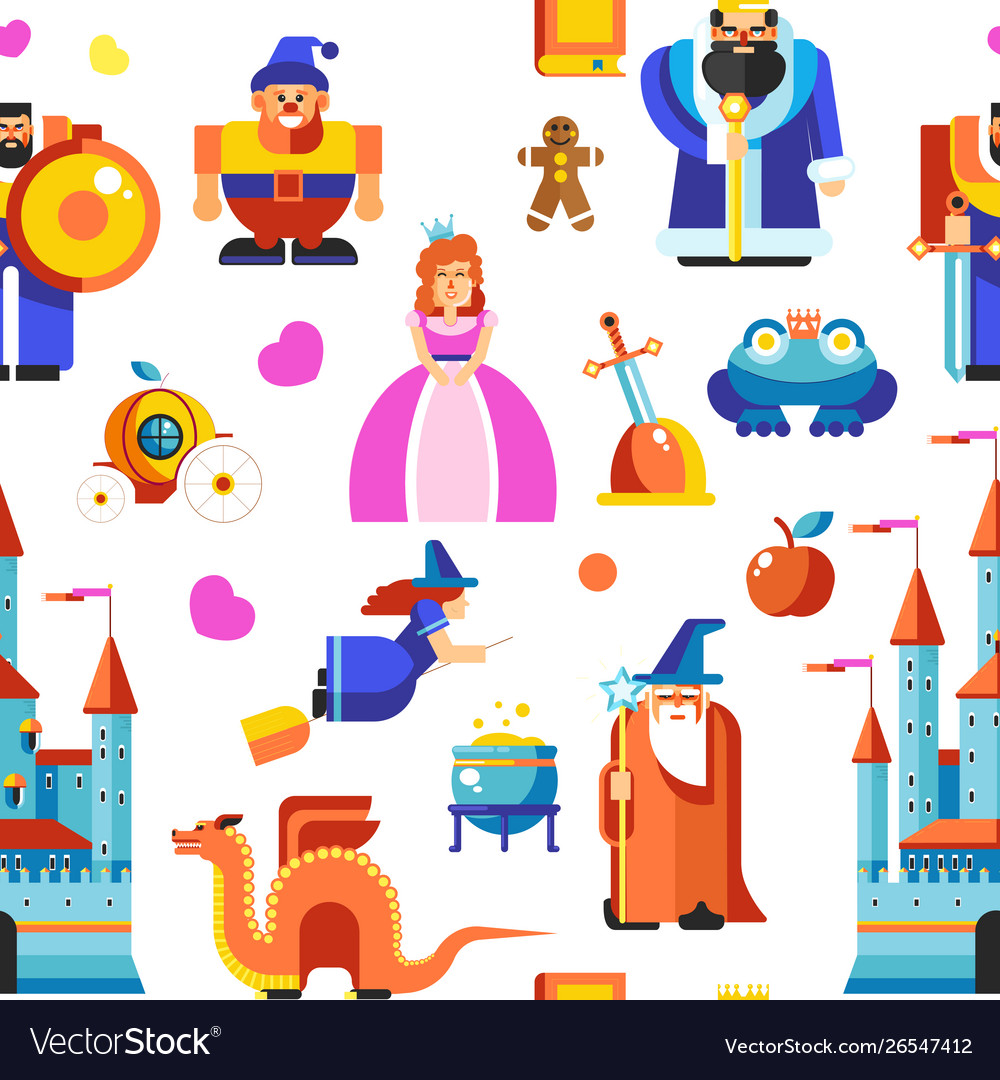Fairy tale characters seamless pattern kingdom and