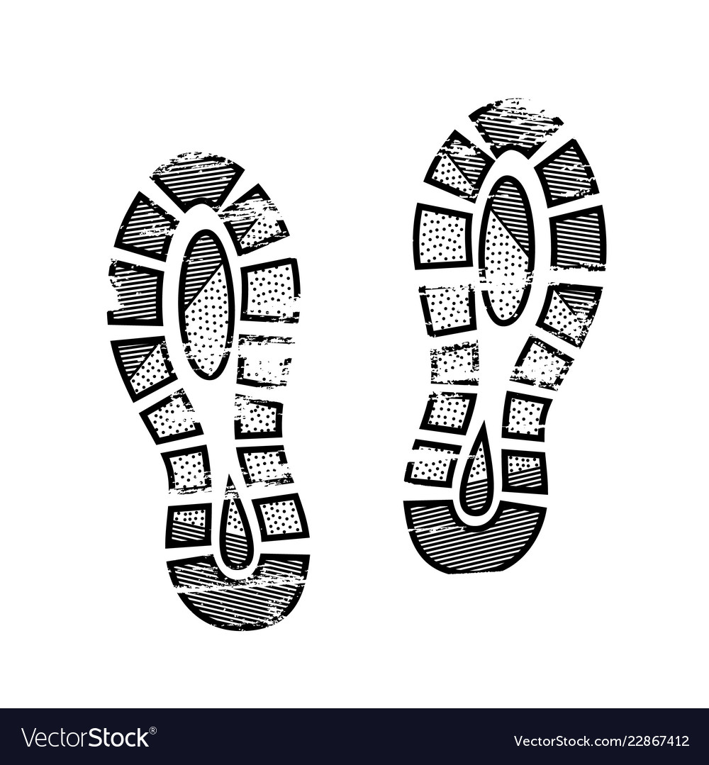 Footprints and shoeprints icon in black and white