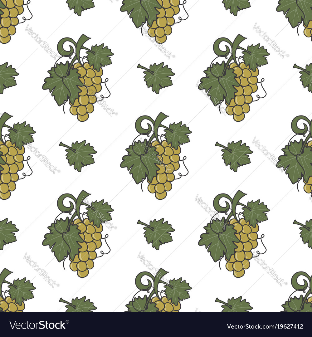 Grape vine and leaf icons seamless wallpaper wine