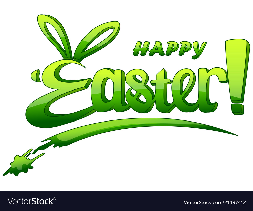 Happy easter lettering isolated on white backgroun