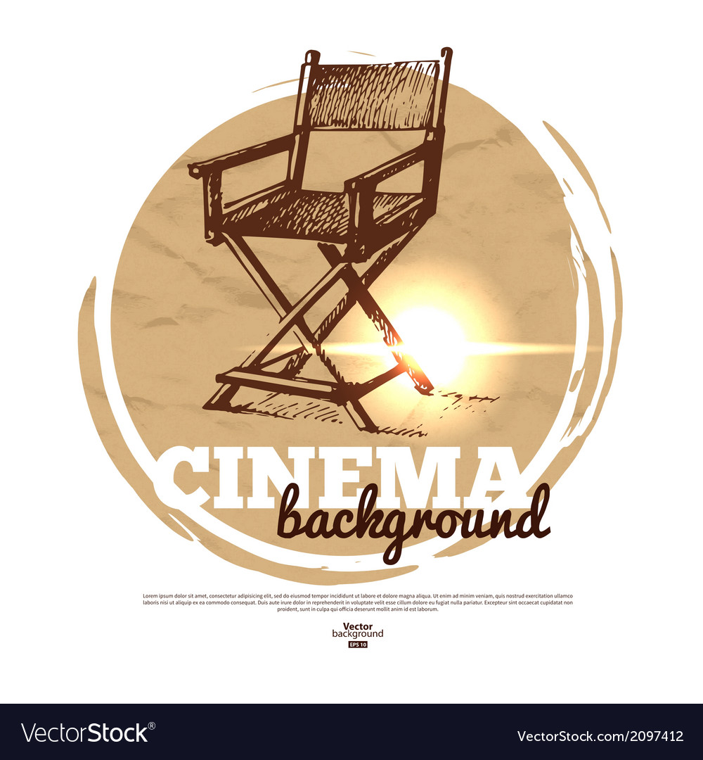Movie cinema banner with hand drawn sketch vector image