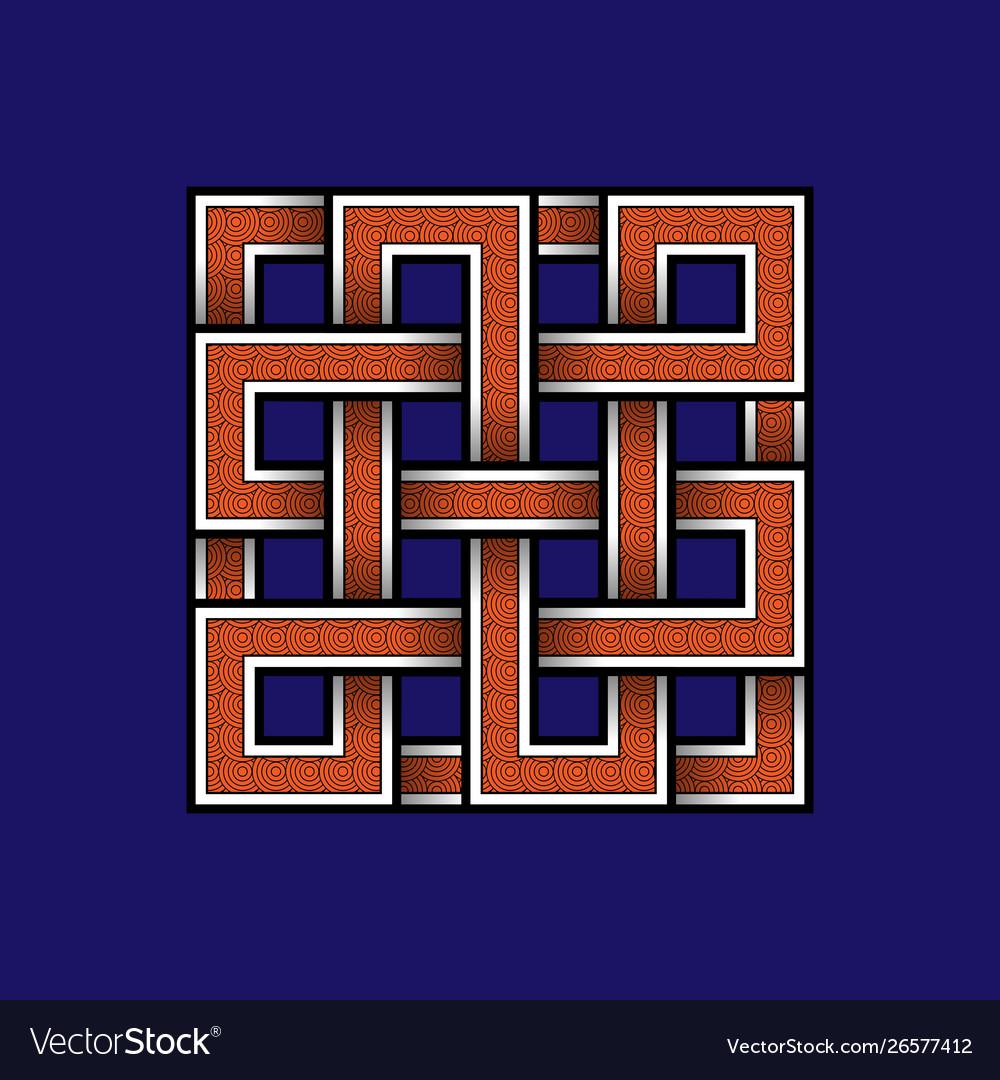 Scandinavian orange viking seamless square
