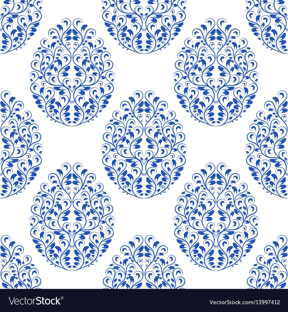 Seamless pattern from eggs with blue floral