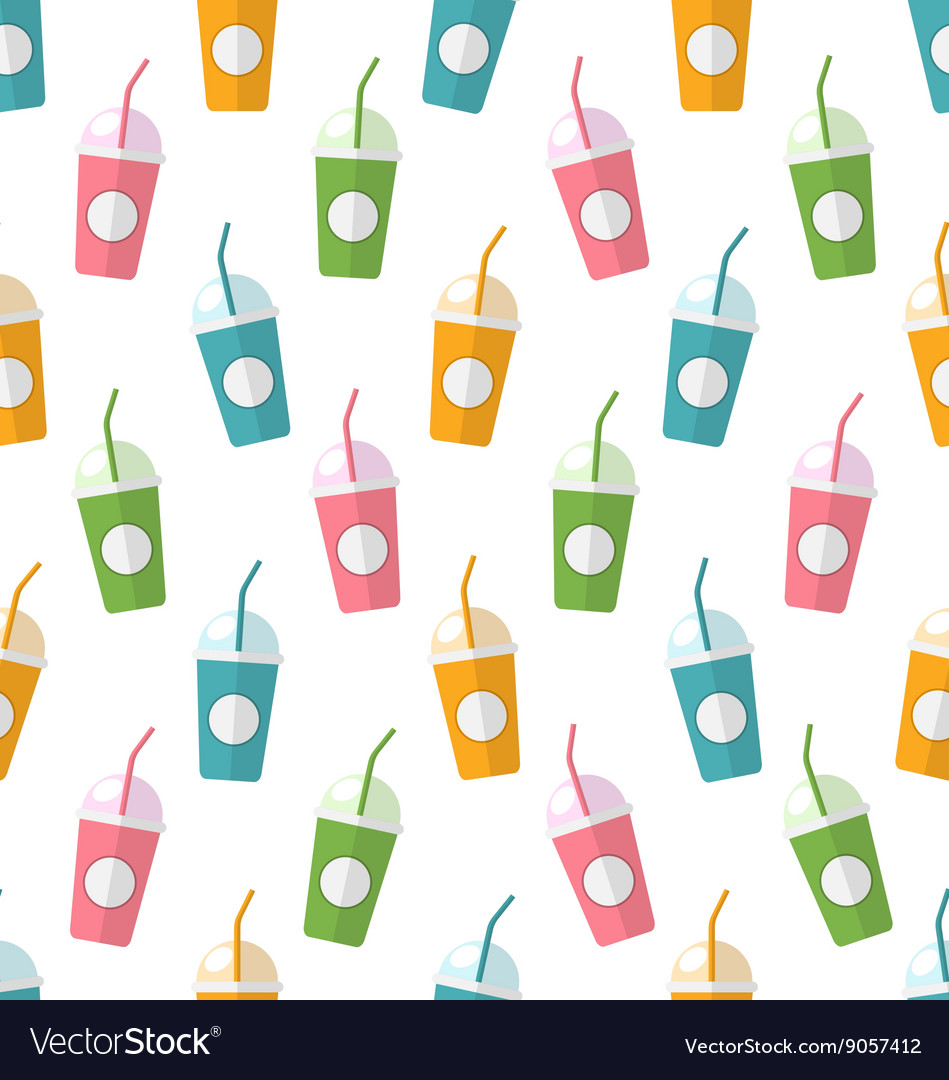 Seamless Pattern with Colorful Set of Milkshakes