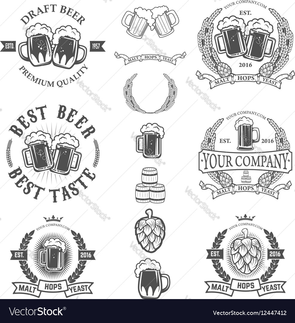 Set of labels templates with beer mug isolated on