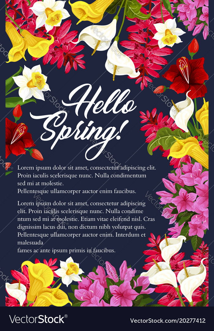 Springtime flowers blooming bunch poster