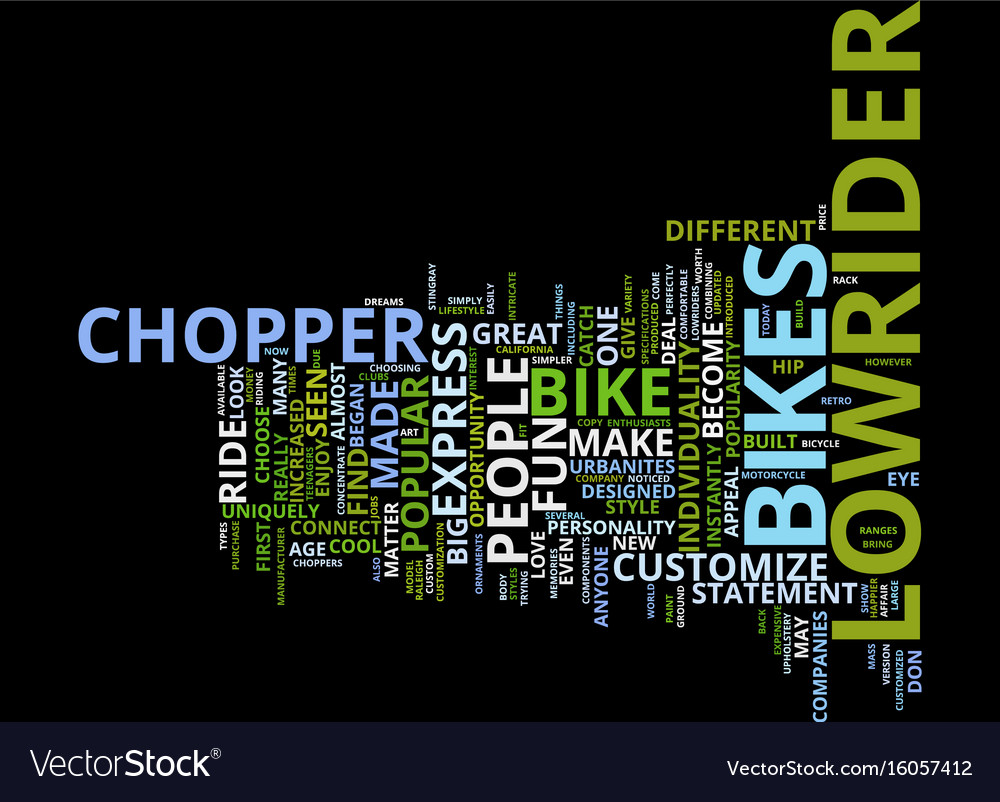 The increased popular of chopper lowrider bikes vector image