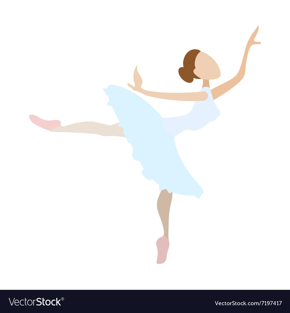 Ballerina Girl Dancing Cartoon Icon Royalty Free Vector