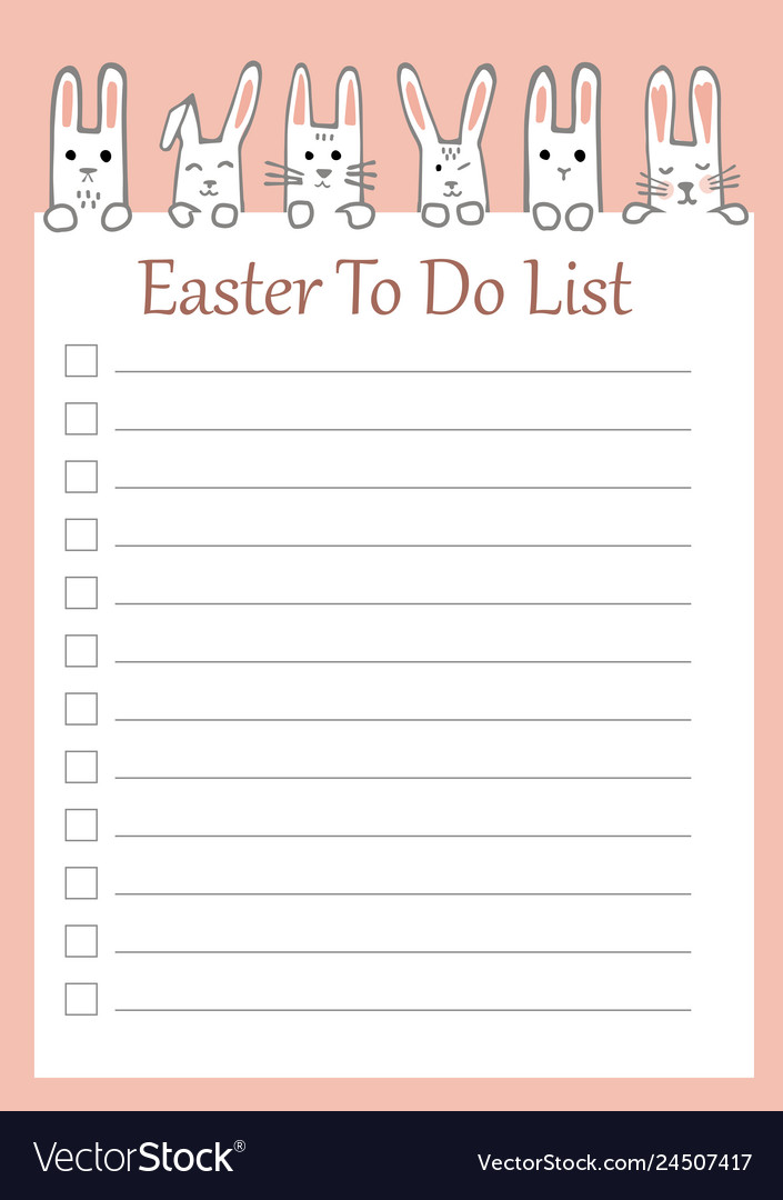 Easter to do list with funny bunnies