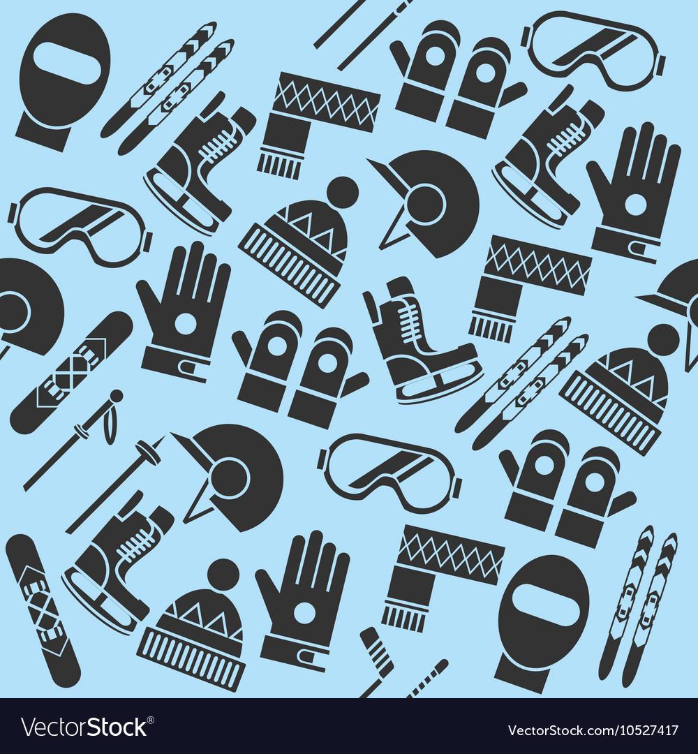 Hand drawn winter sports pattern