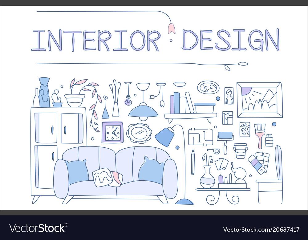 Interior design set hand drawn furniture