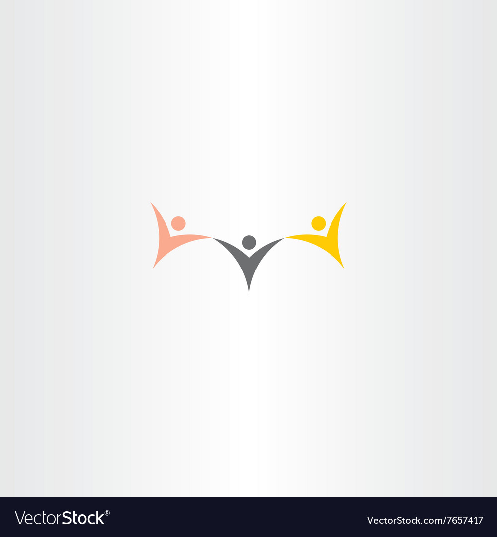 Multiracial people hold hand icon logo vector image