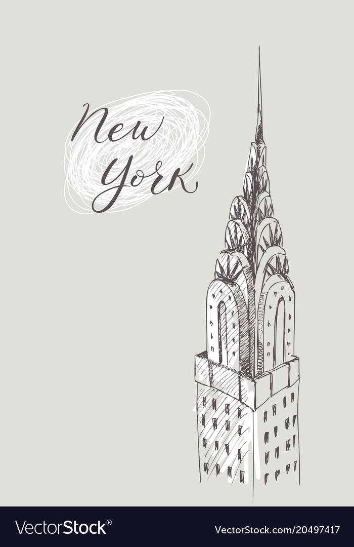 New york building doodle set american travel