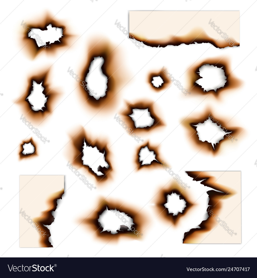 Paper burnt holes and fire scorched torn edges