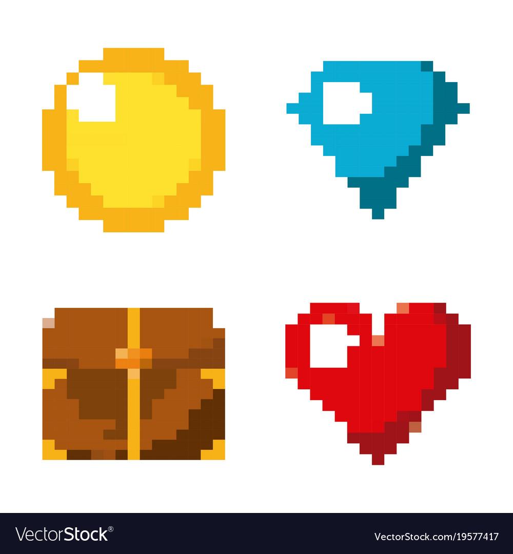 Pixel game set icons arcade retro