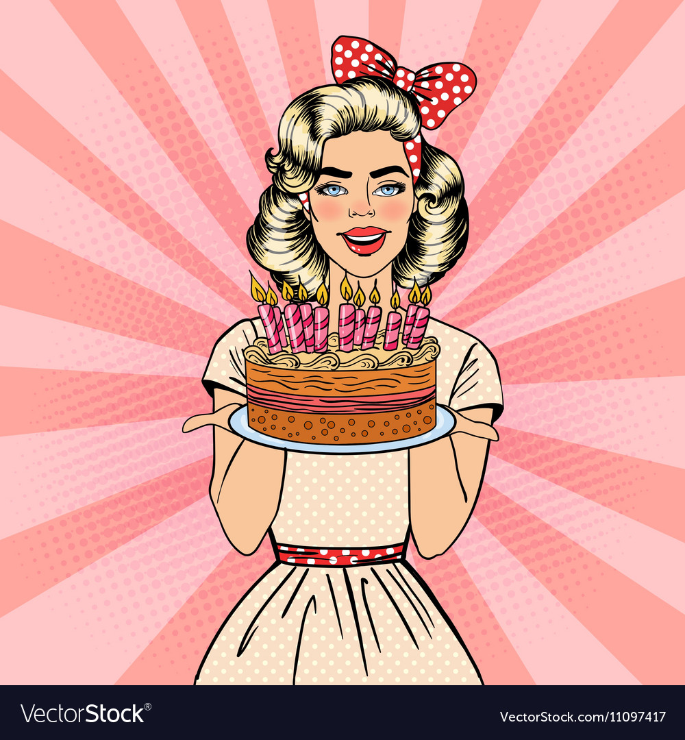 Pop Art Woman Holding Plate with Birthday Cake vector image