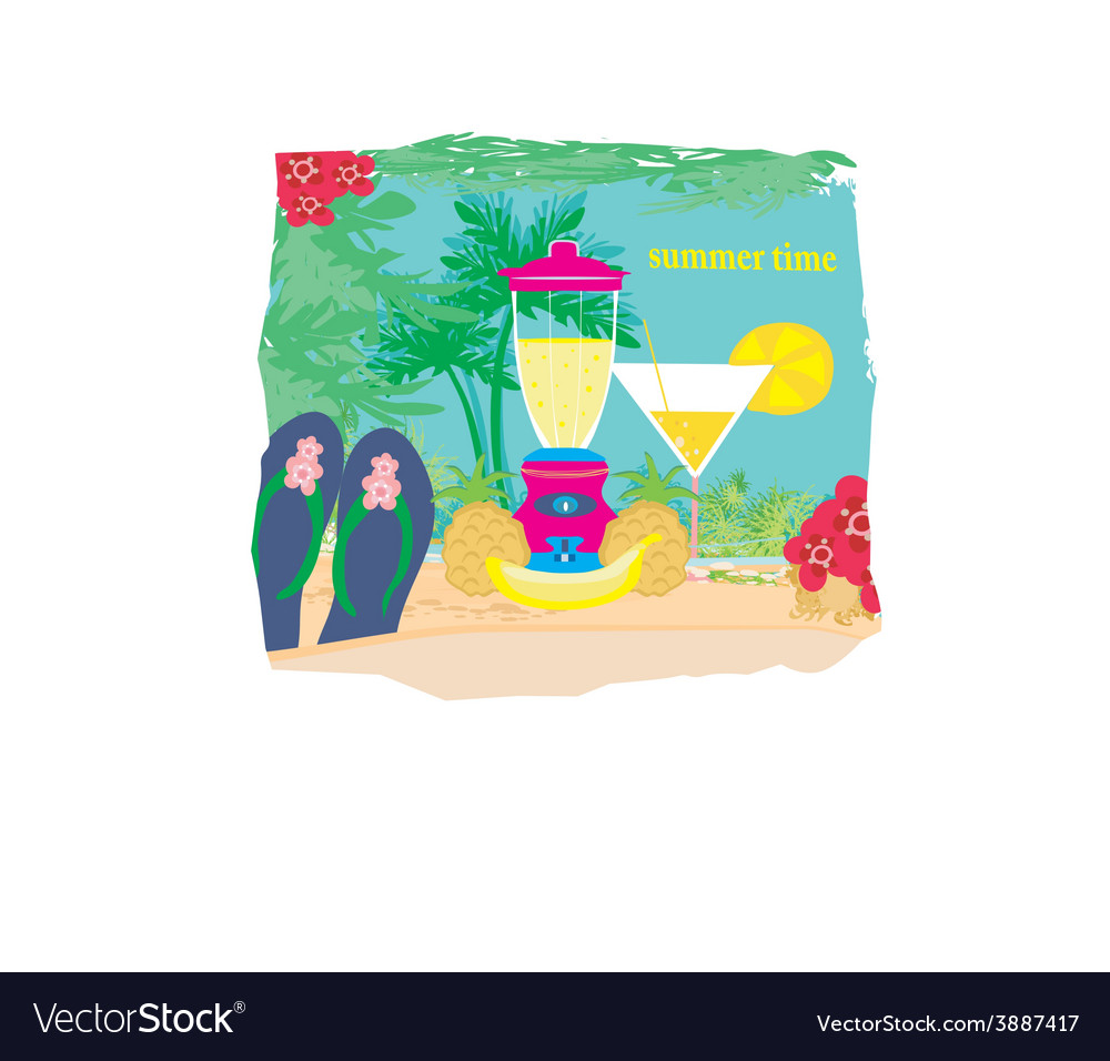 Summer background with palm trees and fruity drink
