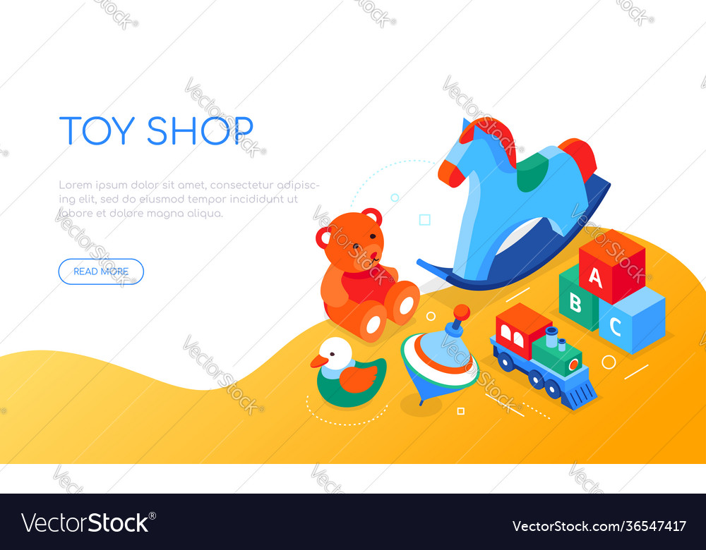 Toys shop - modern colorful isometric web banner