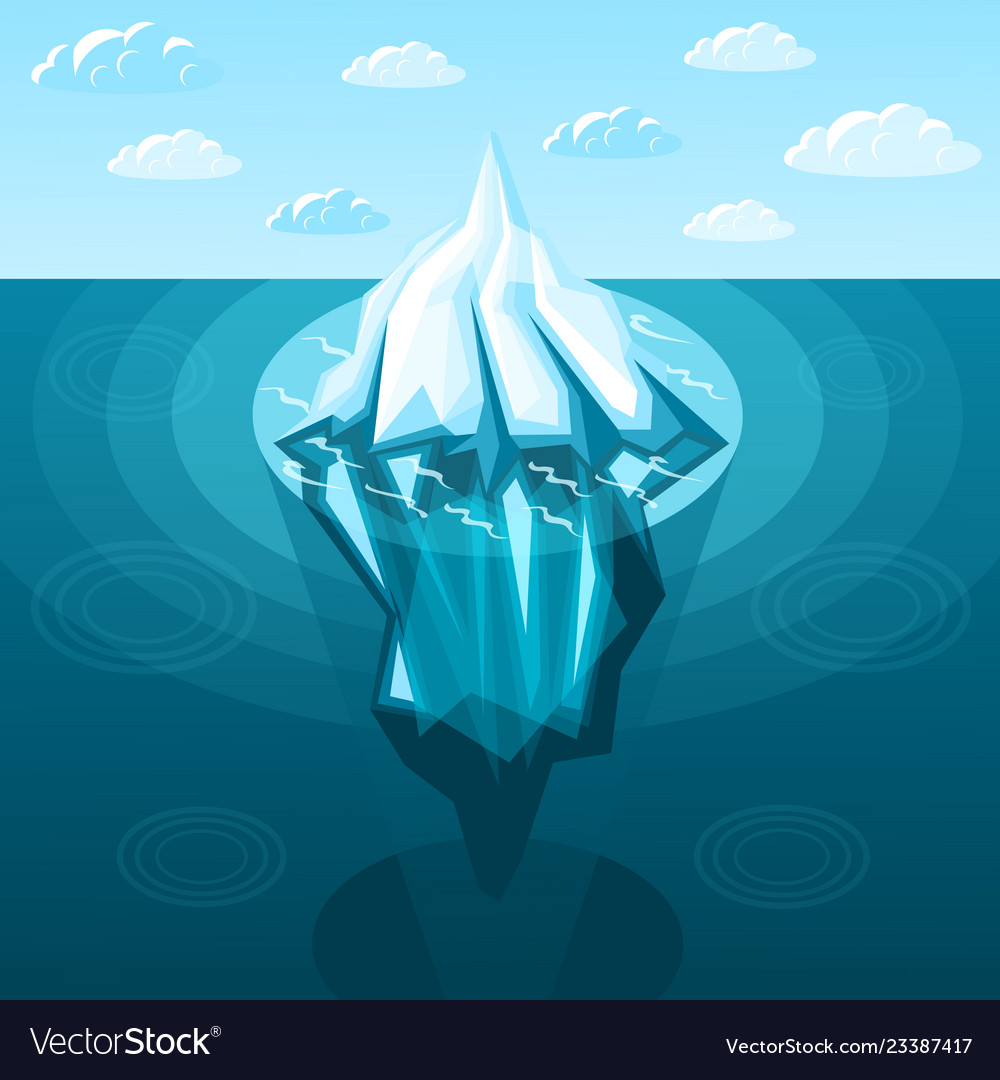 Winter landscaping iceberg isometric background