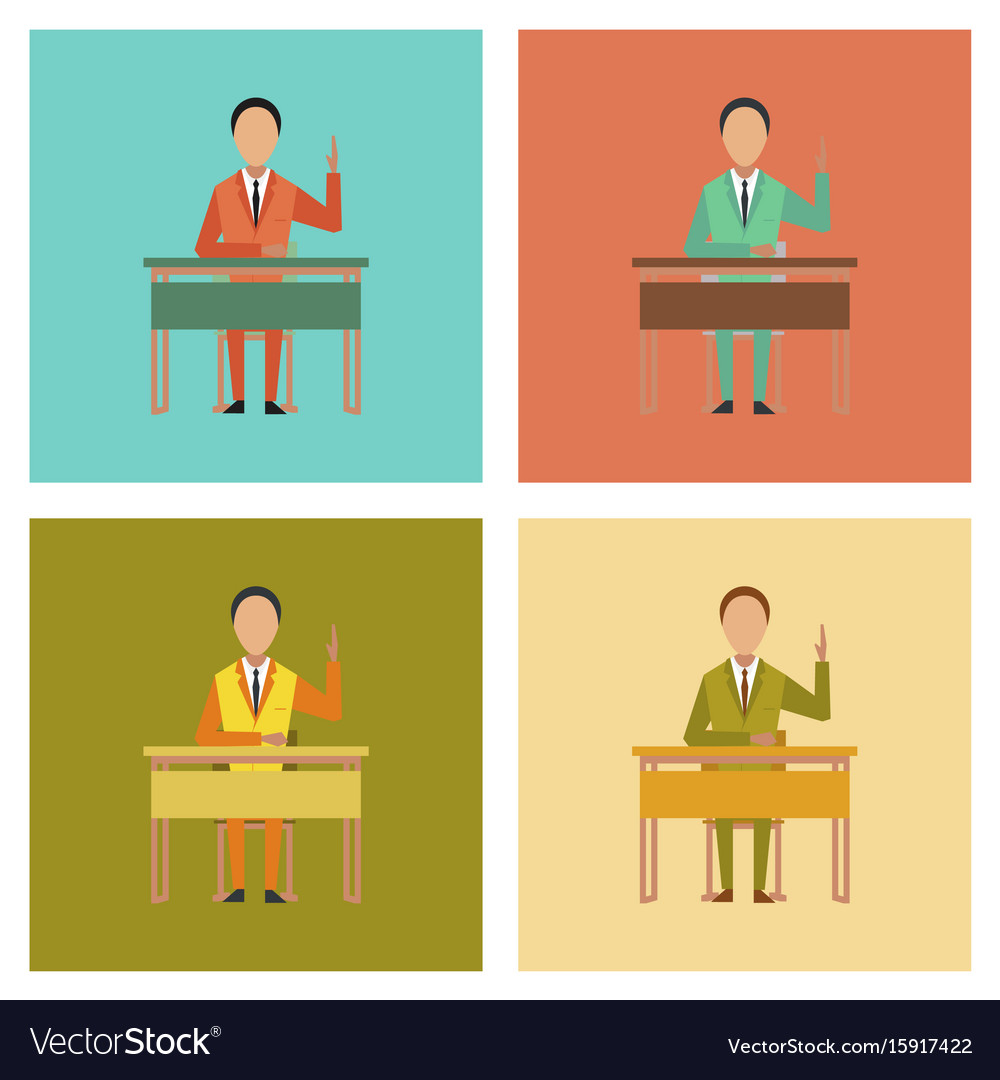 Assembly flat icons pupil at school desk