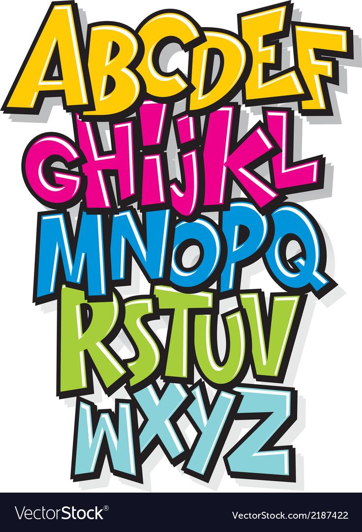 Cartoon comic doodle font alphabet