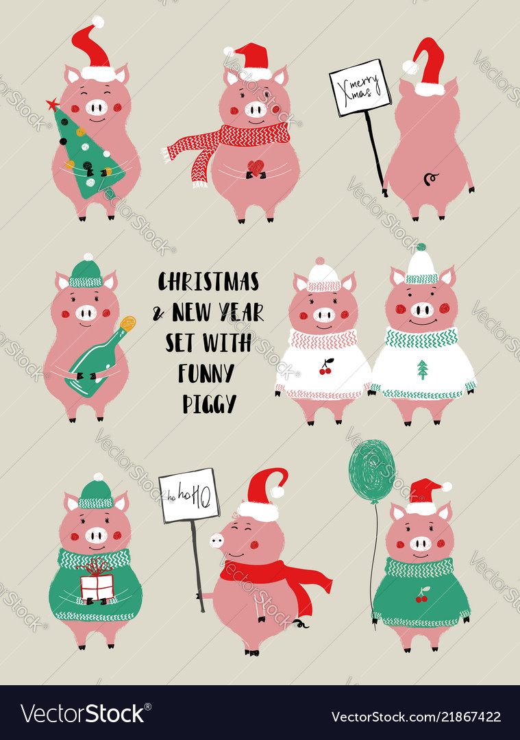 Christmas set with cute pig