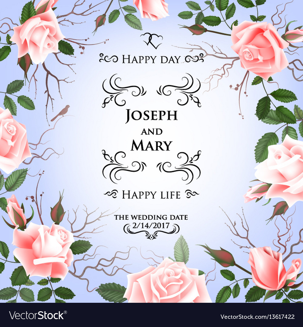 Postcard with delicate flowers roses wedding