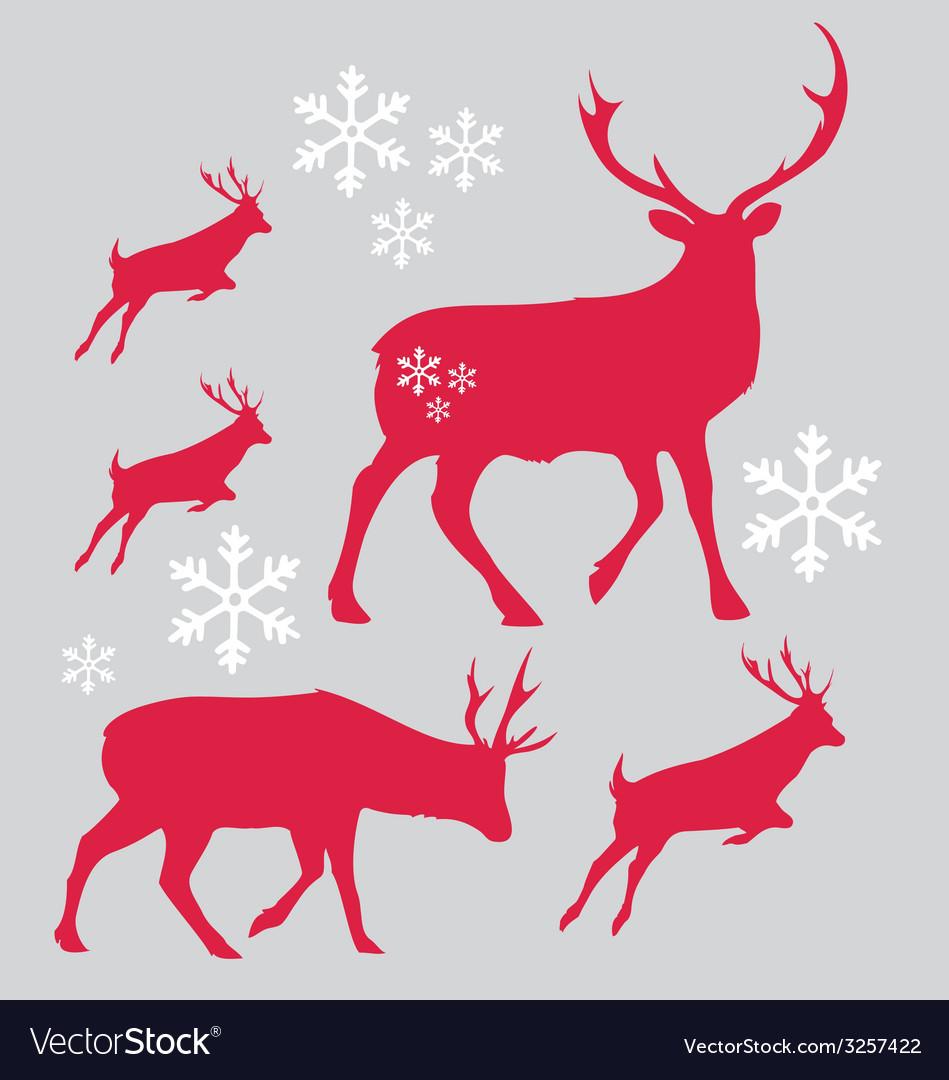 Raindeer Christmas with snowflake
