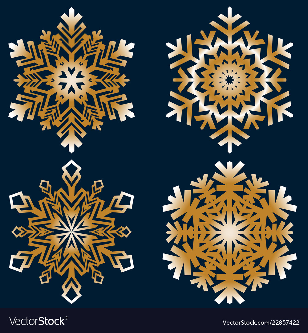 Snowflakes collection isolated on dark background