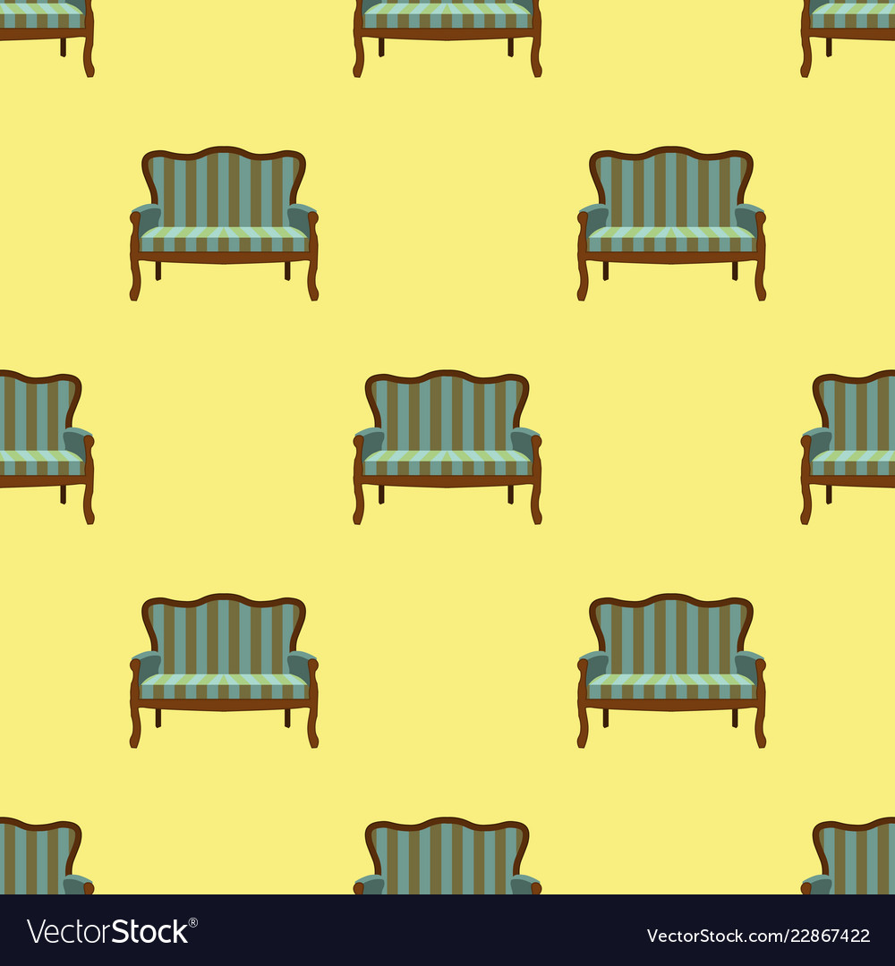 Sofa doodle seamless pattern on yellow background