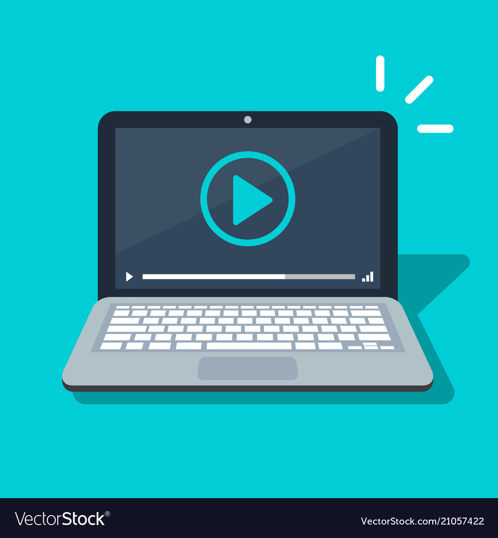 Video player icon on laptop screen flat cartoon