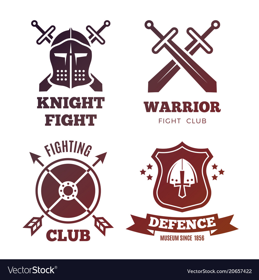 Vintage medieval warrior emblems isolated on white