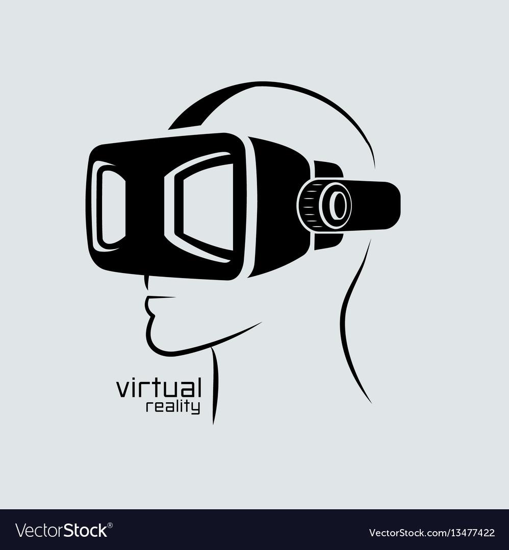 Virtual reality logo flat design icon black vector image