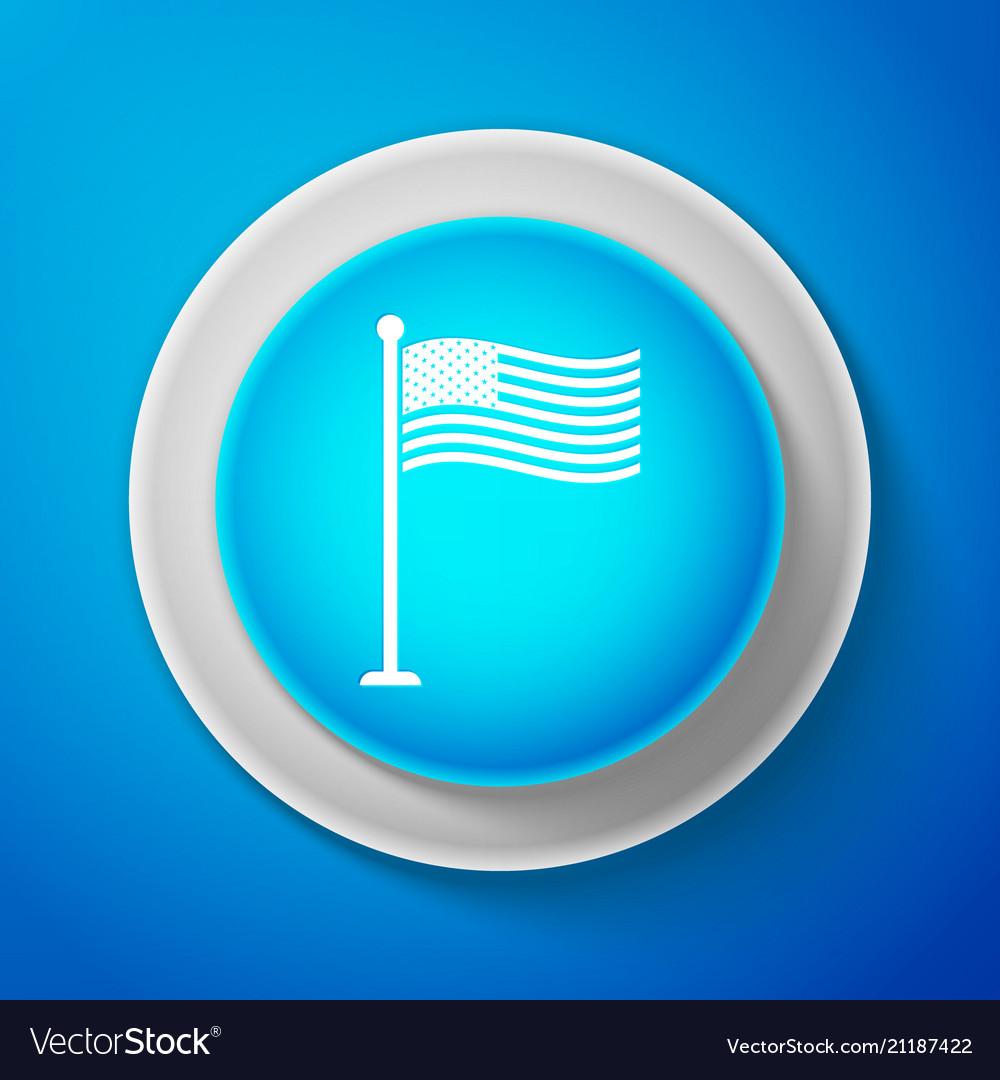 White national flag of usa on flagpole icon