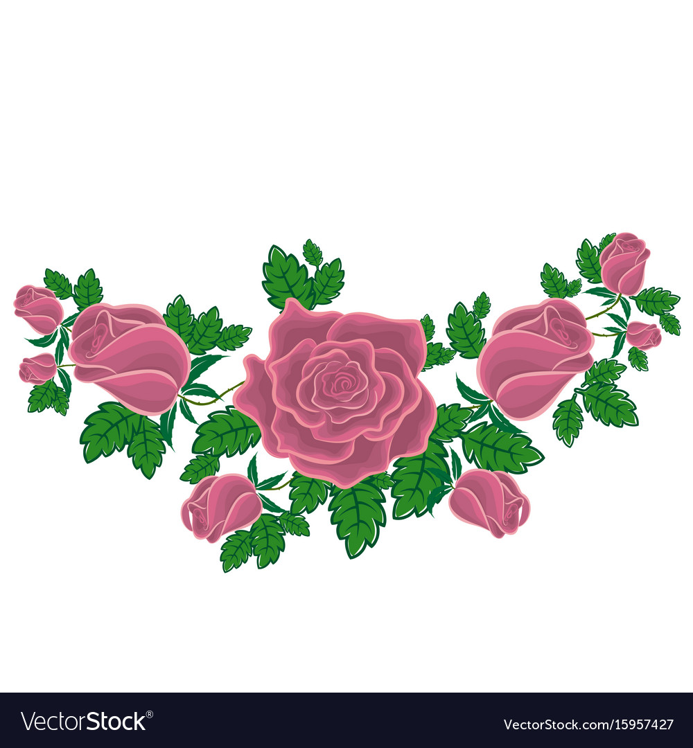 Ash-pink roses in cartoon style Royalty Free Vector Image