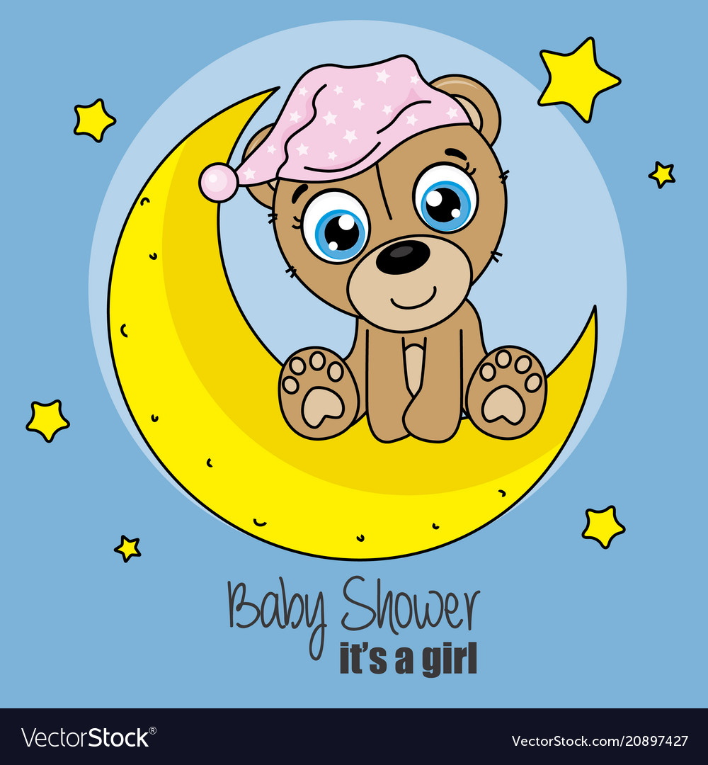 Bear with nightcap sitting on the moon