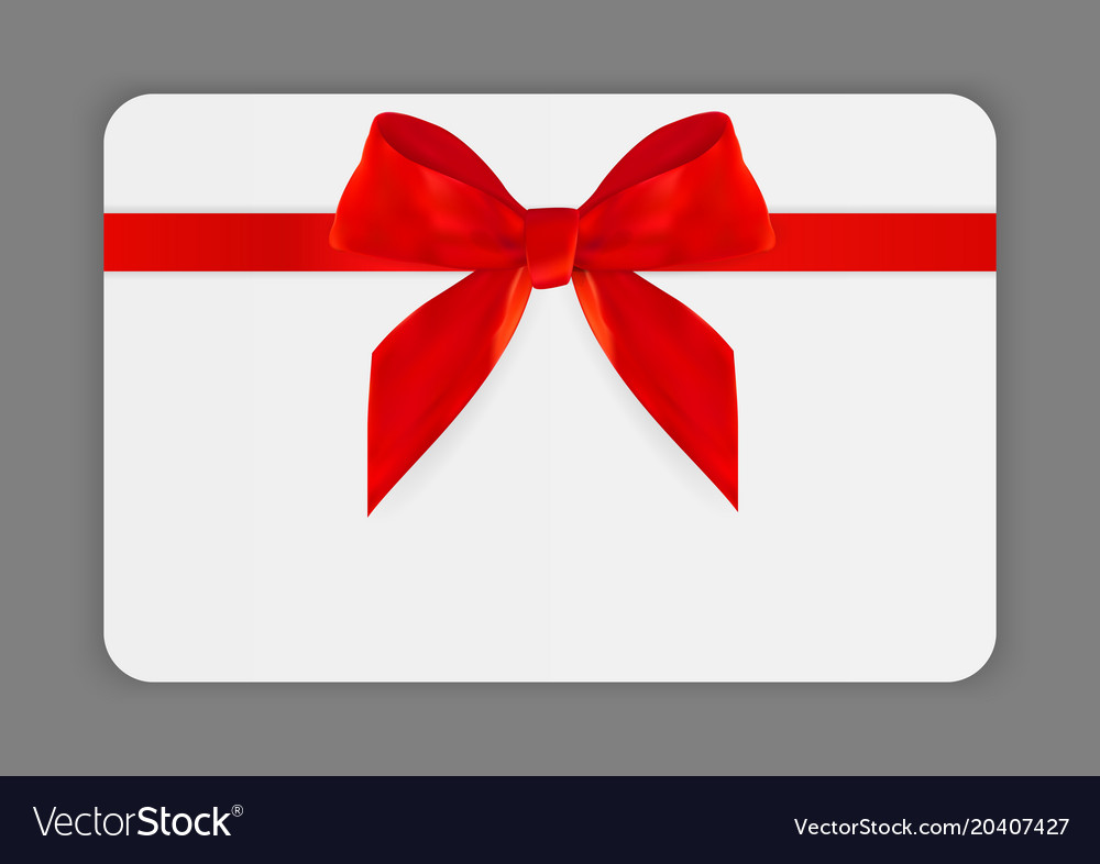 Blank Gift Card Template With Red Bow And Ribbon Vector Image - Blank gift card template