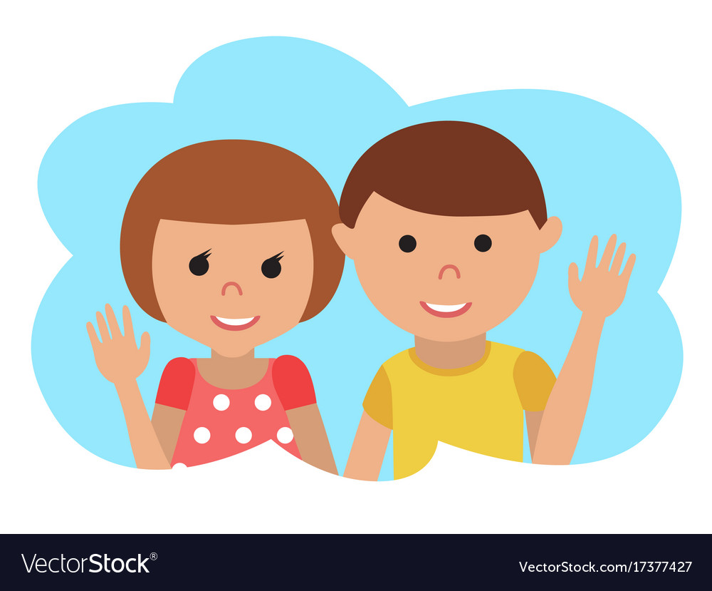 Drawing of icon little boy and girl in the