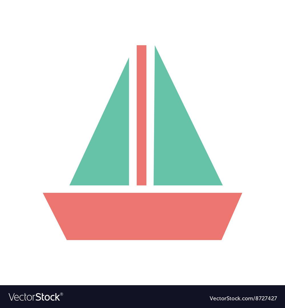 Flat web icon on white background sailing ship