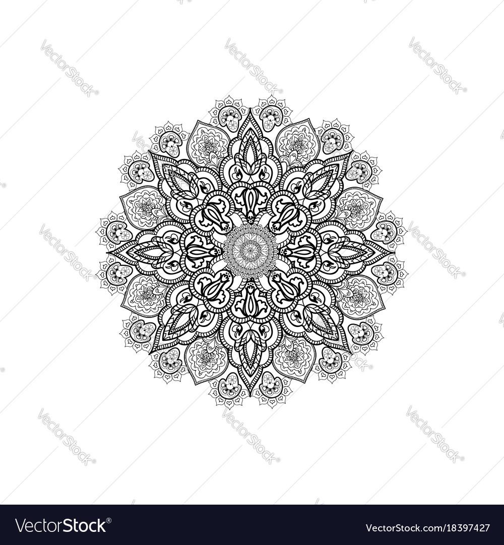 Floral outline oriental decor mandala flower Vector Image