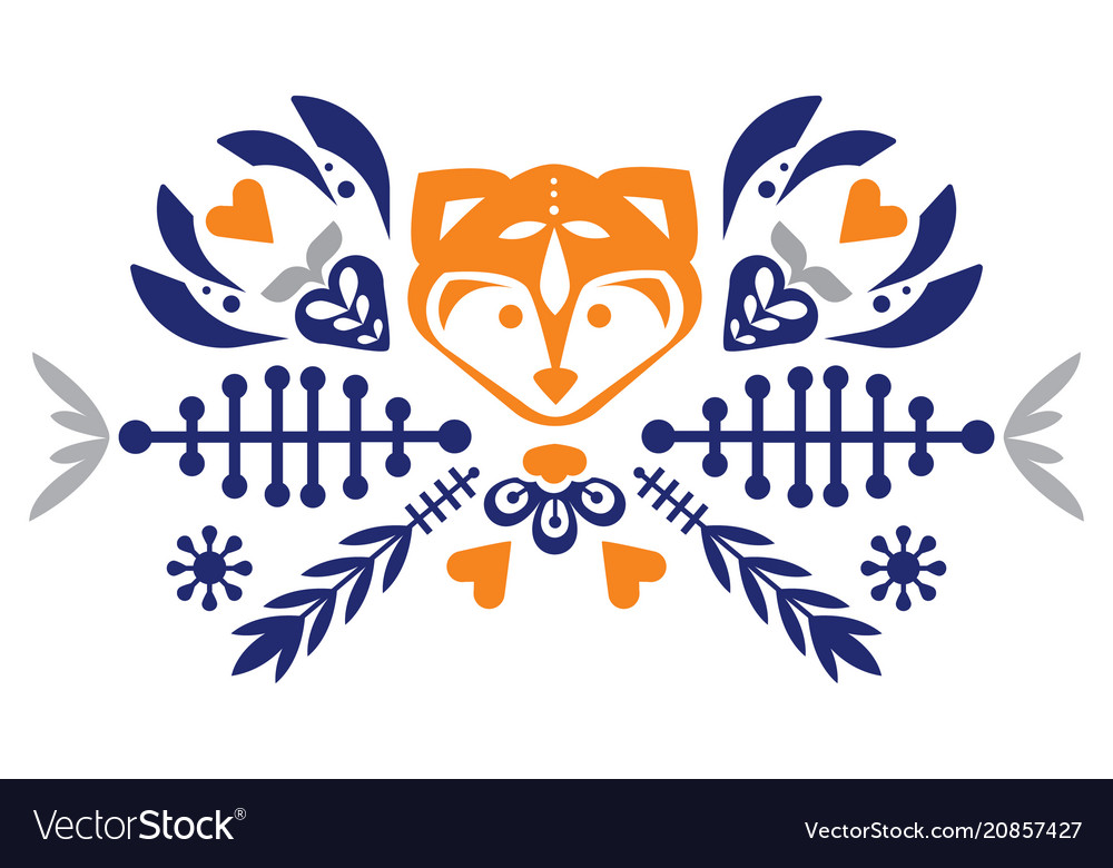Folk cute folk pattern with fox and flowers vector image