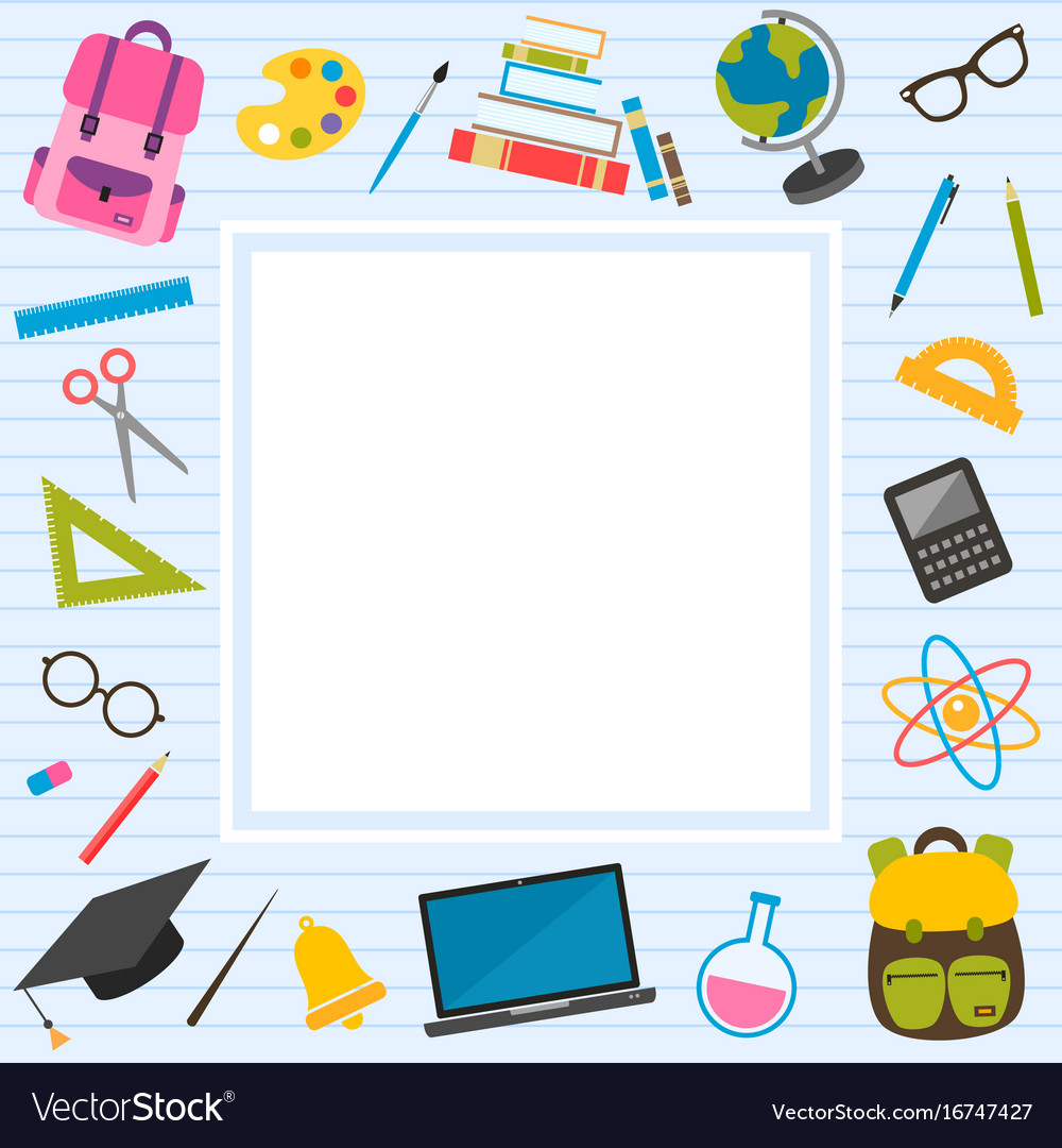 Frame With Back To School Theme Elements Vector Image