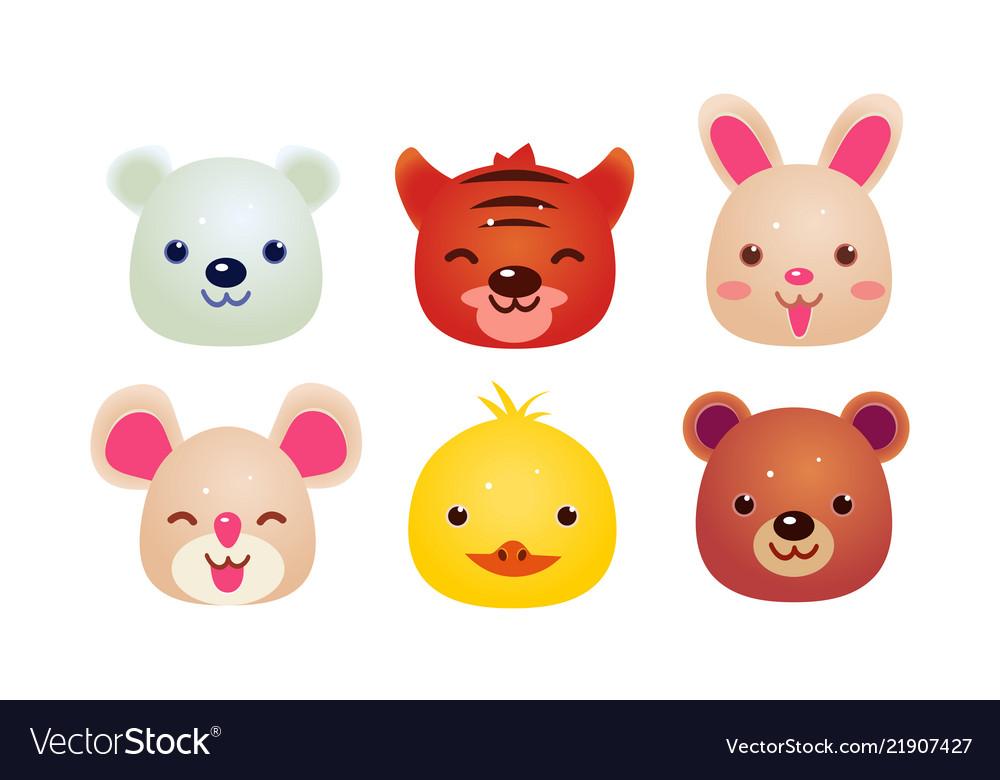 Heads of cute animals set bear face of bear