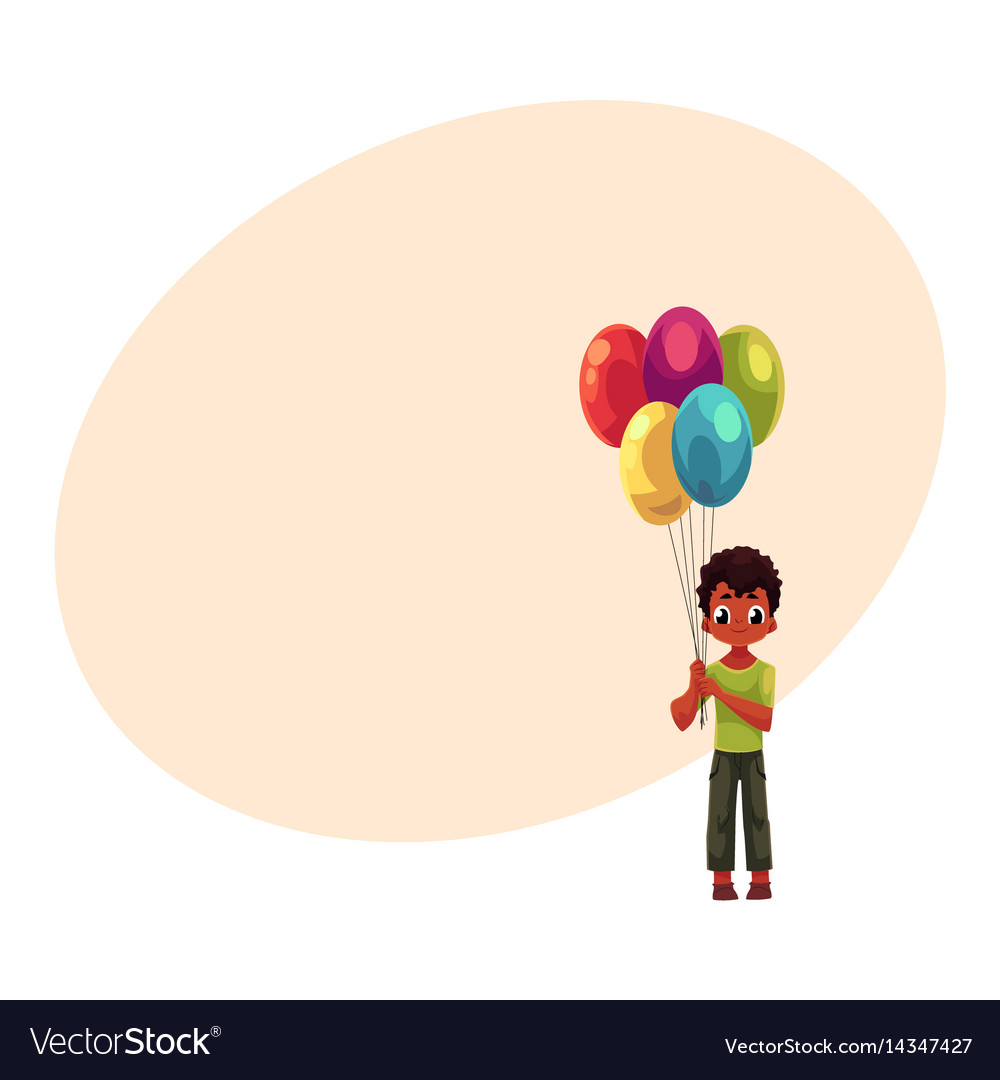 Little black african american boy holding bunch vector image