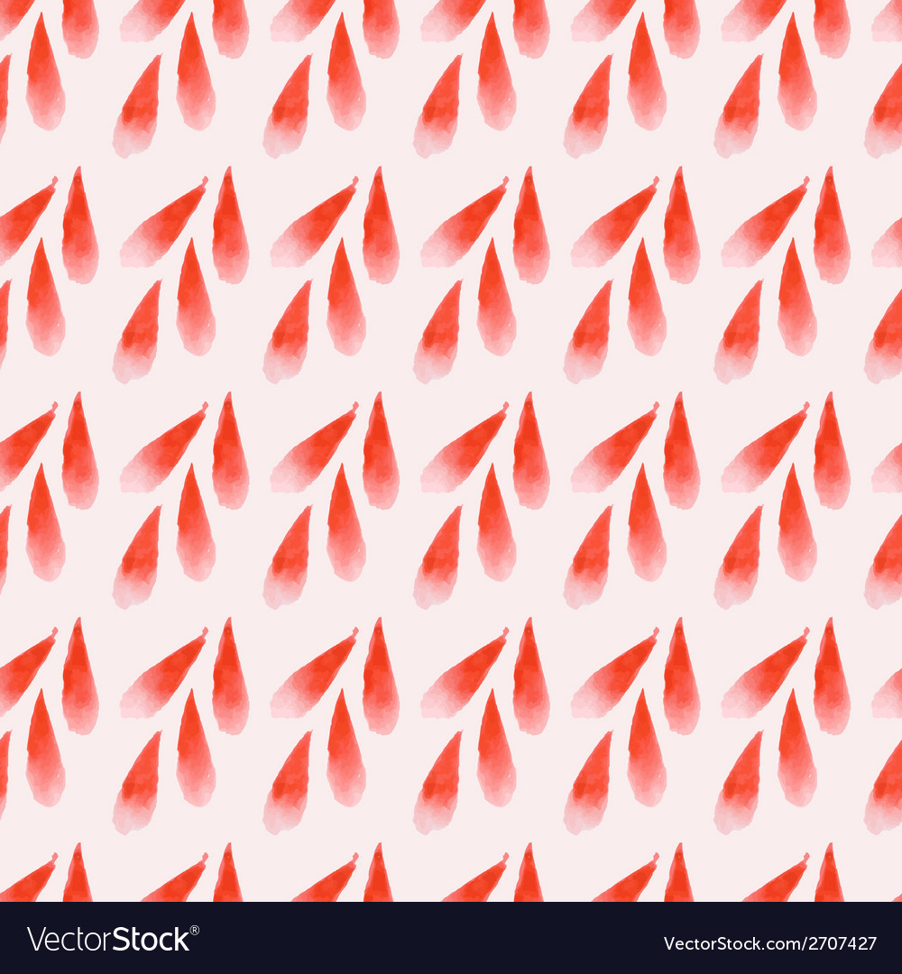 Seamless red watercolor spikelet vector image